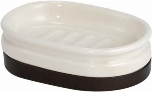 InterDesign Westport Glass Soap Dish - Cream/Bronze Perspective: front