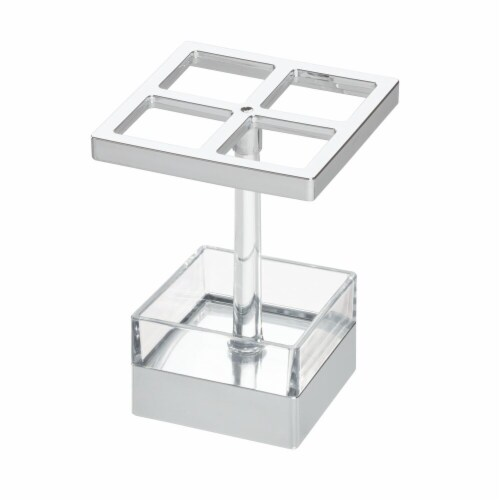 InterDesign Clarity Toothbrush Stand - Clear/Chrome Perspective: front