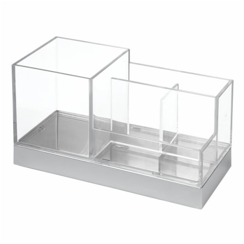 InterDesign Clarity Square Vanity Organizer - Clear/Chrome Perspective: front