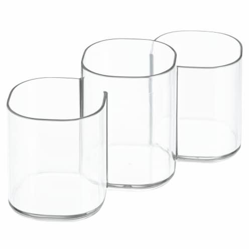 iDesign Clarity Cosmetic Trio Organizer Cup - Clear Perspective: front