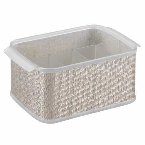 iDesign Twillo Silverware Caddy - Silver Perspective: front