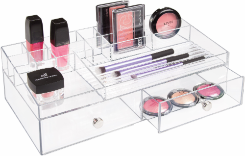 InterDesign Drawers 2-Drawer Cosmetic Organizer - Clear Perspective: front