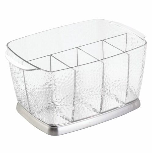 iDesign Rain Silverware Caddy - Clear Perspective: front