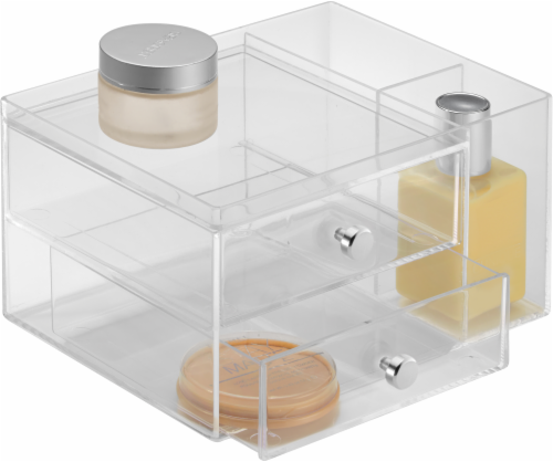 iDesign 2-Drawer Side Organizer - Clear Perspective: front