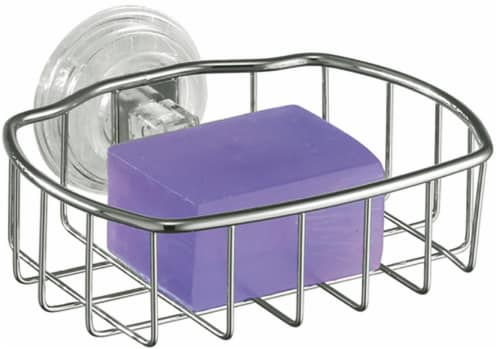 iDesign Reo Suction Soapdish - Stainless Steel Perspective: front