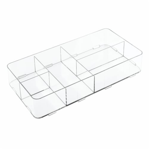 iDesign Clarity Divided Interlocking Drawer Organizer - Clear Perspective: front