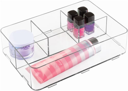 Clarity Interlocking Divided Drawer Organizer - Clear - 1 Piece Perspective: front