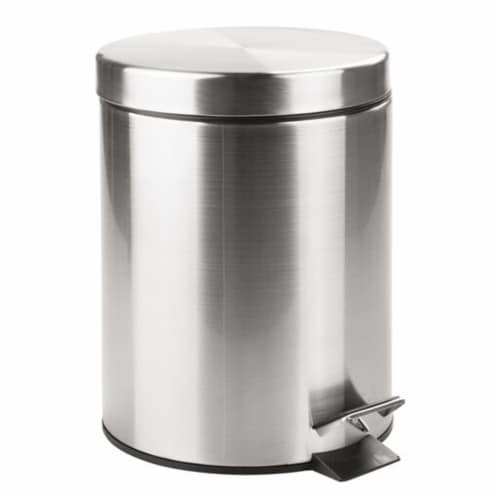 InterDesign Step Can with Bucket Insert - Brushed Nickel Perspective: front