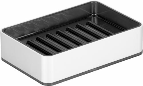 InterDesign Metro Ultra Soap Dish - Silver/Smoke Perspective: front