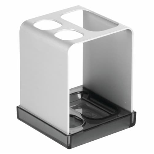 iDesign Metro Ultra Aluminum Toothbrush Holder - Silver/Smoke Perspective: front