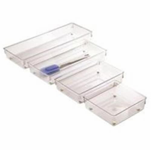 InterDesign Linus 6 In. W. x 15 In. L. x 2 In. D. Clear Drawer Organizer Tray Perspective: front