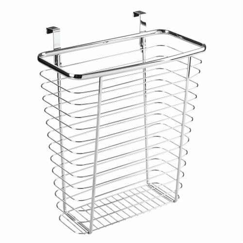 iDesign Chrome Axis Over The Cabinet Waste & Storage Basket Perspective: front