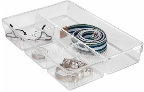 InterDesign Linus Divided Drawer Organizer - Clear Perspective: front