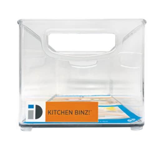 iDesign Kitchen Binz Storage Organizer Bin - Clear Perspective: front