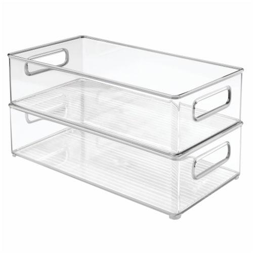 iDesign Fridge+Freeze Binz Deep Storage Bins - Clear Perspective: front