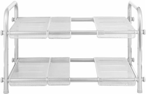 InterDesign Cabrini 2-Tier Under Sink Organizer - Silver Perspective: front