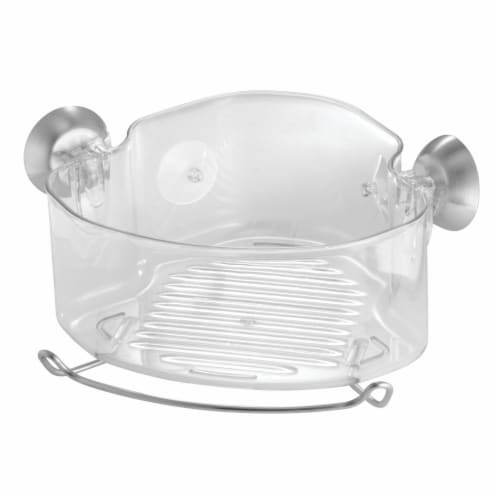 iDesign Forma Suction Corner Basket - Clear Perspective: front