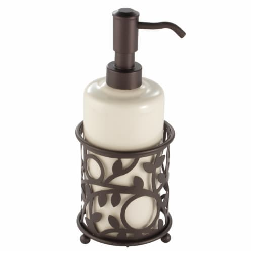 iDesign Vine Ceramic and Steel Soap Pump - Vanilla/Bronze Perspective: front
