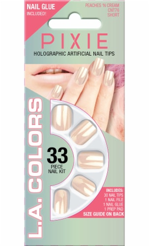 L.A. Colors Pixie Holographic Peaches N Cream Short Nail Tips Perspective: front
