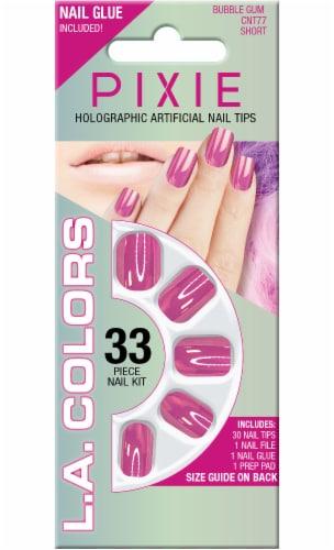 L.A. Colors Pixie Holographic Bubble Gum Short Nail Tips Perspective: front