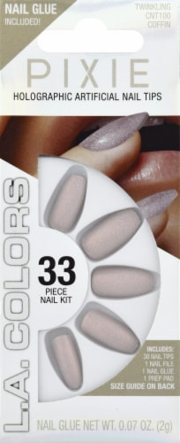 L.A. Colors Pixie Holographic Twinkling Taupe Coffin Nail Tips Perspective: front