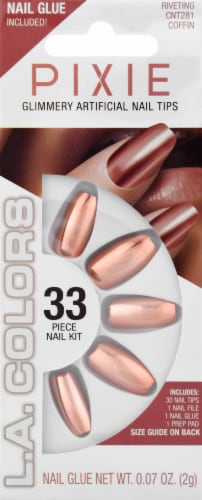 L.A. Colors Pixie Holographic Riveting Coffin Nail Tips Perspective: front