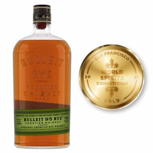 Bulleit 95 Rye Straight American Rye Whiskey Perspective: front