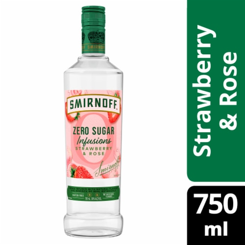 Smirnoff Zero Sugar Infusions Strawberry & Rose Vodka Perspective: front
