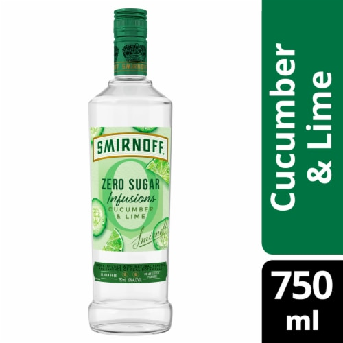 Smirnoff Zero Sugar Infusions Cucumber & Lime Vodka Perspective: front