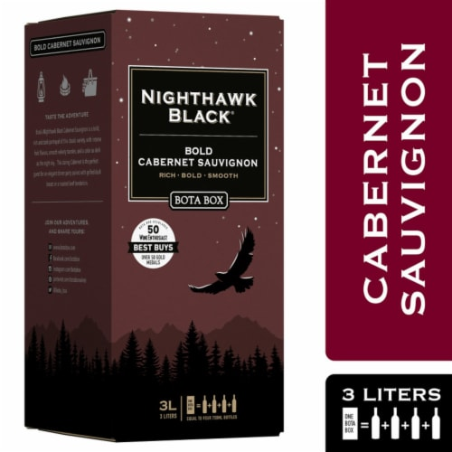 Bota Box Nighthawk Black Cabernet Sauvignon Red Wine Perspective: front