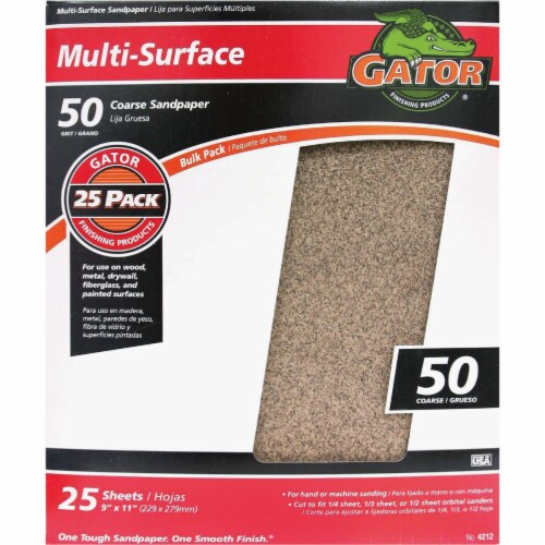 Gator Multi-Surface 9 In. x 11 In. 50 Grit Coarse Sandpaper (25-Pack) 4212 Perspective: front