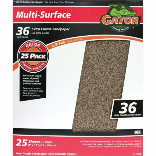 Gator Multi-Surface 9 In. x 11 In. 36 Grit Extra Coarse Sandpaper (25-Pack) 4214 Perspective: front