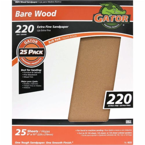 Gator Bare Wood 9 In. x 11 In.. 220 Grit Extra Fine Sandpaper (25-Pack) 4223 Perspective: front