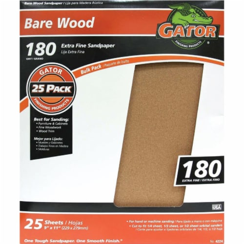 Gator Bare Wood 9 In. x 11 In. 180 Grit Extra Fine Sandpaper (25-Pack) 4224 Perspective: front