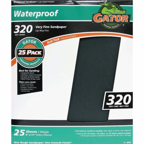 Gator Waterproof 9 In. x 11 In. 320 Grit Very Fine Sandpaper (25-Pack) 4240 Perspective: front