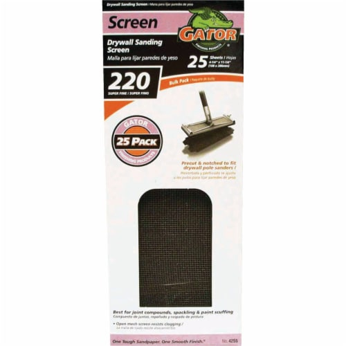 Gator Grit 220 Grit 4-3/8 In. x 11 In. Precut Drywall Sanding Screen (25-Pack) Perspective: front