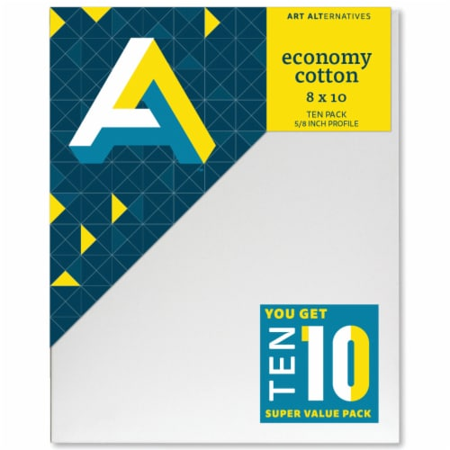Art Alternatives Economy Cotton Stretched Canvas Super Value Pack - 10 Pack Perspective: front