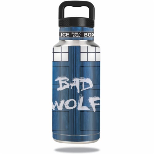 MightySkins OZBOT36-Time Lord Box Skin for Ozark Trail Water 36 oz Bottle Wrap Cover Sticker Perspective: front