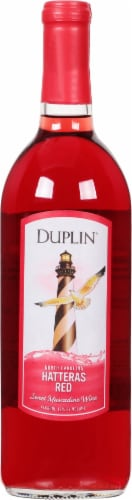 Duplin Hatteras Red Sweet Muscadine Red Wine Perspective: front