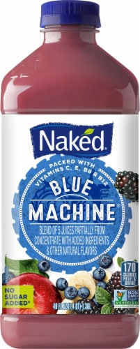 Naked Juice Blue Machine No Sugar Added 100% Juice Smoothie Drink Perspective: front
