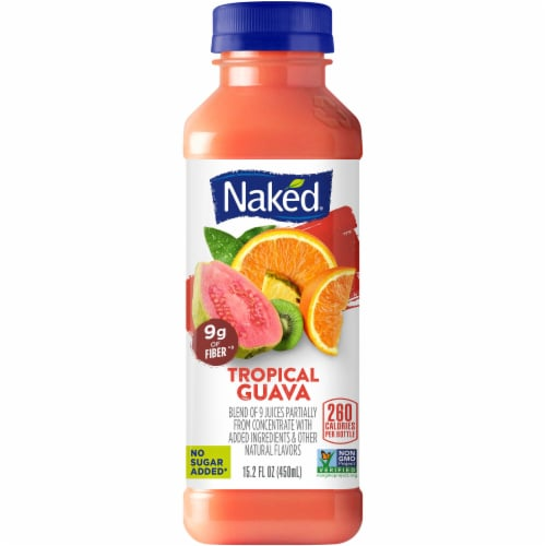 Naked Juice Guava No Sugar Added Fruit Smoothie Drink Perspective: front