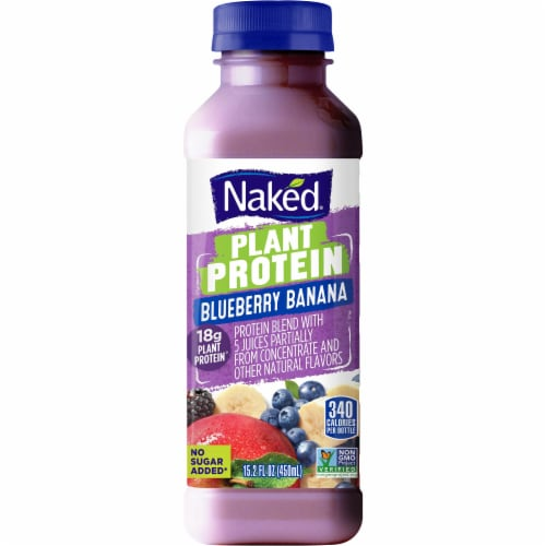 Naked Juice Plant Protein Blueberry Banana Juice Smoothie Perspective: front