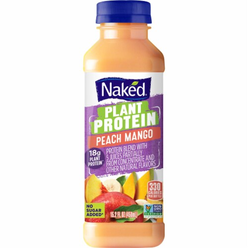 Naked Juice Plant Protein Peach Mango Fruit Juice Smoothie Perspective: front