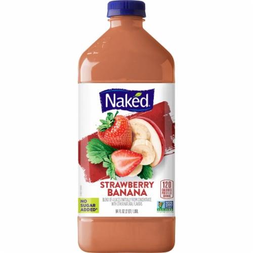 Naked Juice Fruit Smoothie Strawberry Banana Bottle Perspective: front