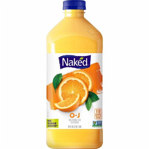 Naked Juice 100% Orange Juice Bottle Perspective: front