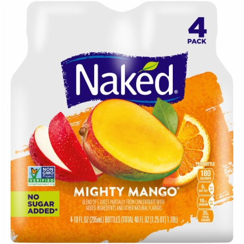 Naked Juice 100% Juice Fruit Smoothie Mighty Mango 4 Count Perspective: front