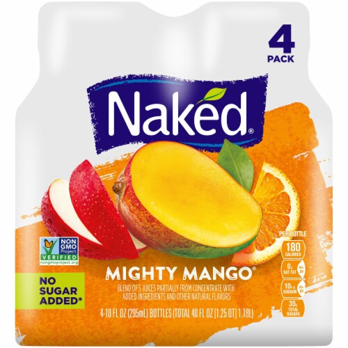 Naked Juice100% Juice Fruit Smoothie Mighty Mango 4 Count Perspective: front