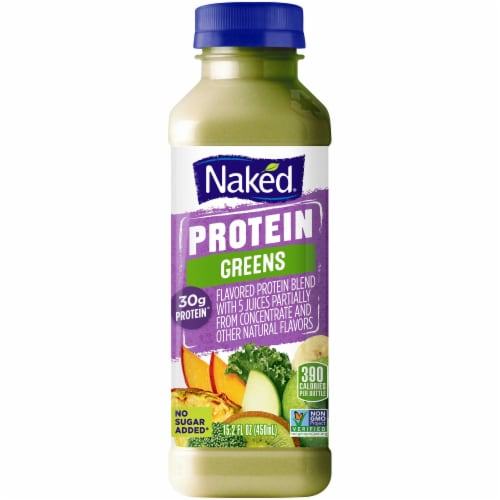 Naked Juice Protein & Greens No Sugar Added Juice Smoothie Drink Perspective: front