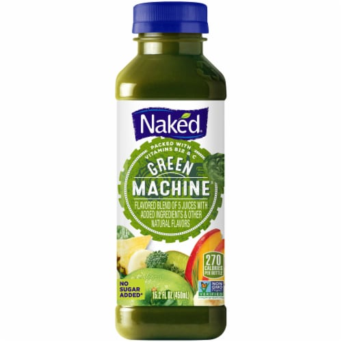 Naked Juice Green Machine No Sugar Added 100% Juice Smoothie Drink Perspective: front