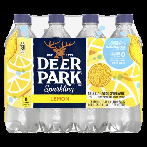 Deer Park Lively Lemon Sparkling Natural Spring Water 8 Count Perspective: front